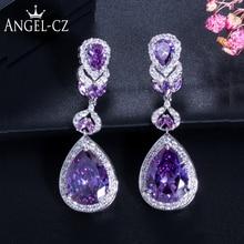 ANGELCZ Romantic Women Valentine's Day Gift Noble Water Drop Jewelry Purple Austrian Crystal Long Hanging Earrings AE029