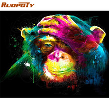 RUOPOTY Frame Colorful Orangutan Painting By Numbers Kit Animals Acrylic Diy Paint By Numbers Wall Art Picture For Home Decor(China)