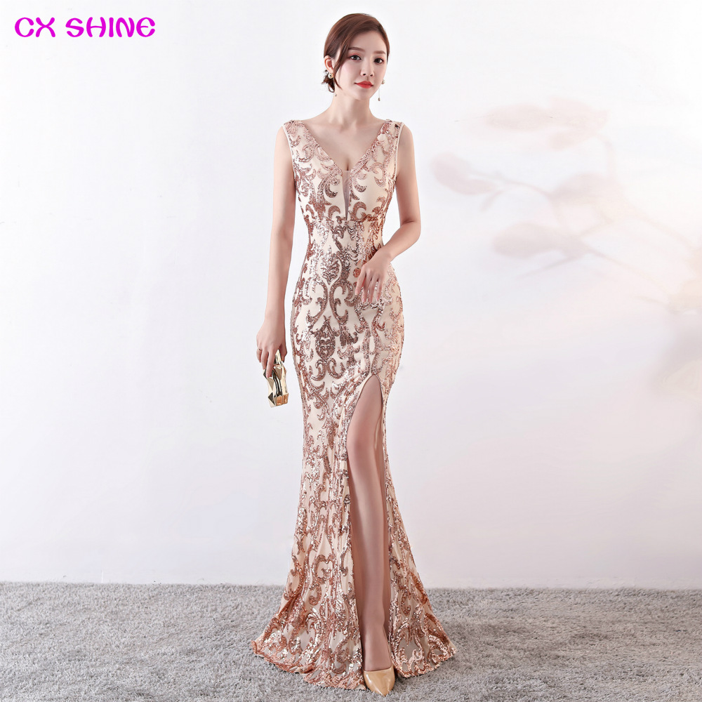 Cx Shine V Neck Evening Dress Pattern Sequin Gold Split Mermaid