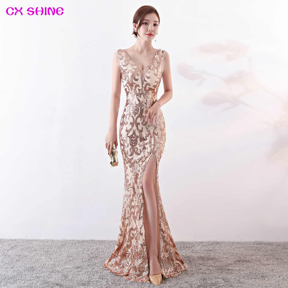 CX SHINE V NECK Evening dress pattern Sequin gold split mermaid trumpet  long prom party Formal 6192eac76058
