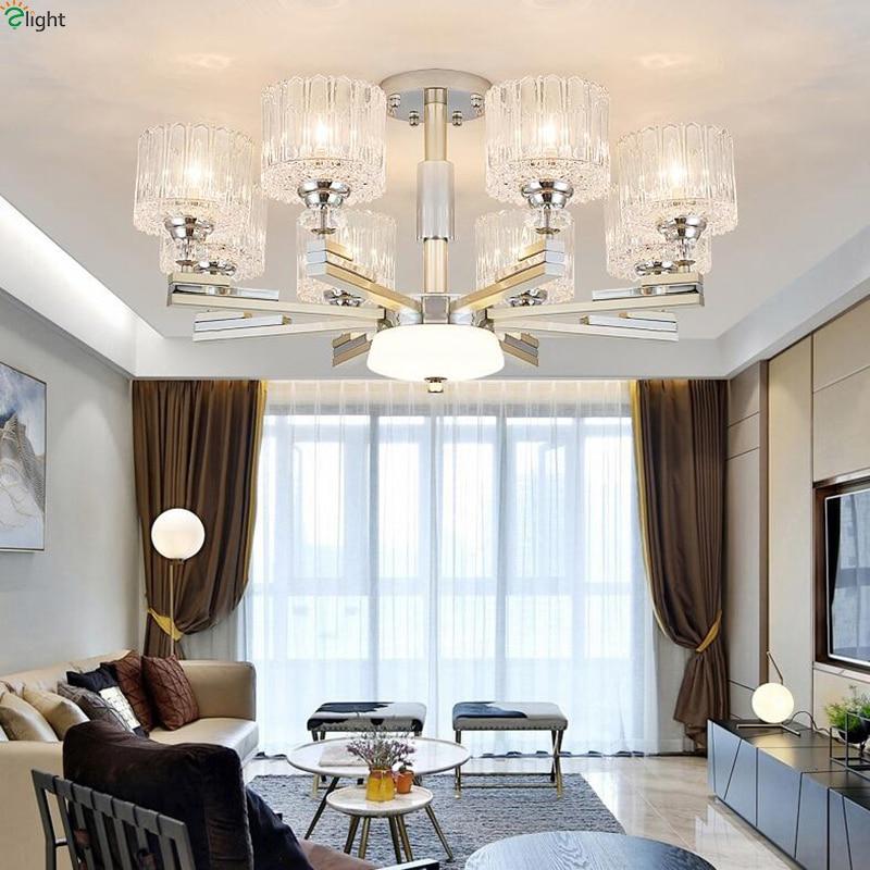 Moderne Chrome Nickel Led lustres éclairage salon verre pendentif Led lustre lumières salle à manger suspendus luminaires