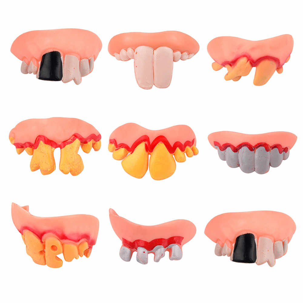Kids Toy Baby Funny Toys For Boy Girl Hallowmas Tricks Toy Replica Disgust Ugly Denture False Rotten Teeth model Tooth