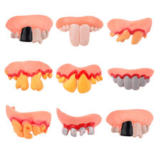 Kids Toy Baby Funny Toys For Boy Girl Hallowmas Tricks Toy Replica Disgust Ugly Denture False Rotten Teeth model Tooth(China)