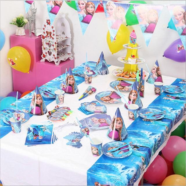 18 Person 205pcs Snow Queen Elsa Anna For Theme Party Supplies Children Birthday Decoration