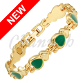 Channah 2017 Women Gold Magnetic Lovely Bracelet Green Cat Eye Stones Bangle Ladies Heart Jewelry Gift Free Shipping Charm