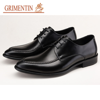 GRIMENTIN fashion genuine leather shoes for men 2019 black lace up british style men formal shoes hot sale