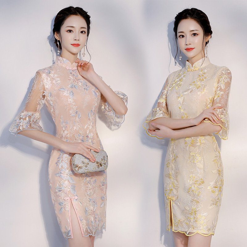 Short Slim Girl Cheongsam Women Chinese Traditional Dress Vintage Flower Lace Vestido Oriental Qipao Sexy Evening Party Dresses