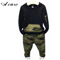 Fashion Camouflage Kids Boys Clothes Set Autumn Toddler Clothing 2pcs Black T Shirt Pants Boy Sports