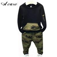 Fashion Camouflage Kids Boys Clothes Set Autumn Toddler Clothing 2pcs Black T Shirt Pants Boy Sports