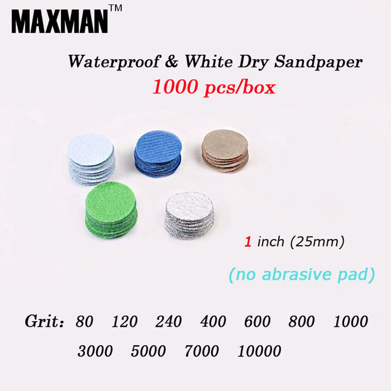 MAXMAN 1000 PCS 1 inch Waterproof Dry Wet Amphibious Sandpaper No Abrasive Pad Sanding Disc For