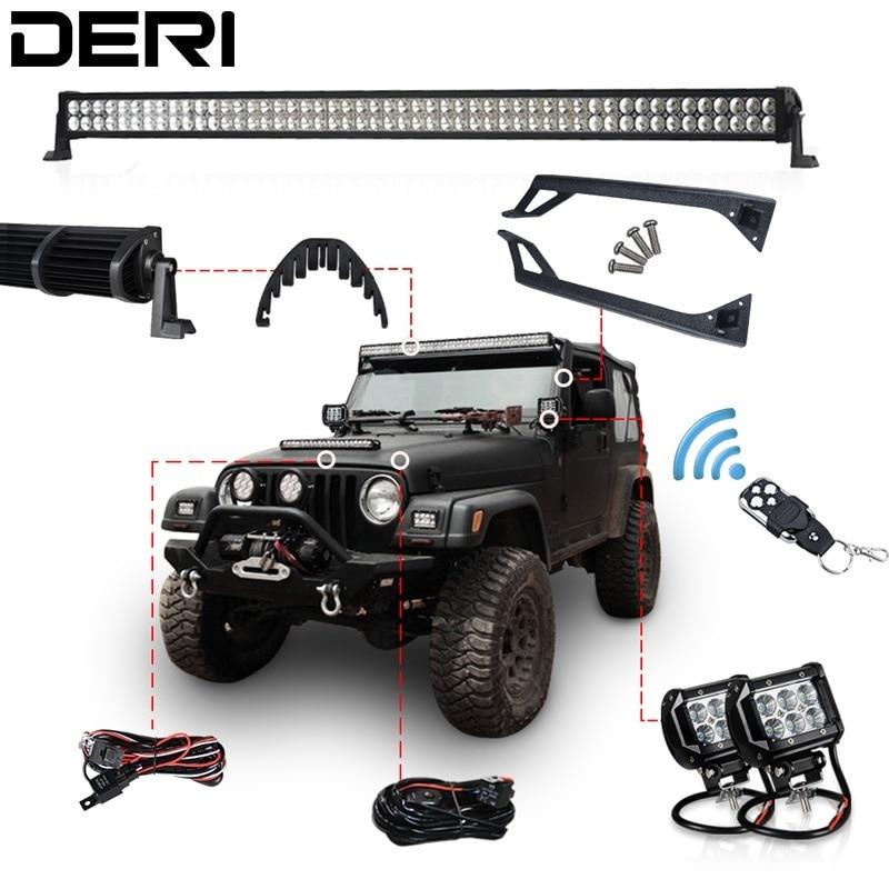 "52/"" 300W LED Light Bar+Mount Bracket Fits Jeep Wrangler 97-06 TJ+Wiring Harness"