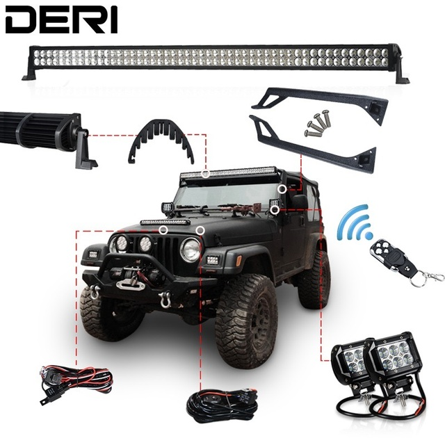 50 inch 288W Offroad LED Work Light Bar kit + Mount + Wireless Remote Controller + Bolts+Isolator For JEEP Wrangler YJ 1987-1995