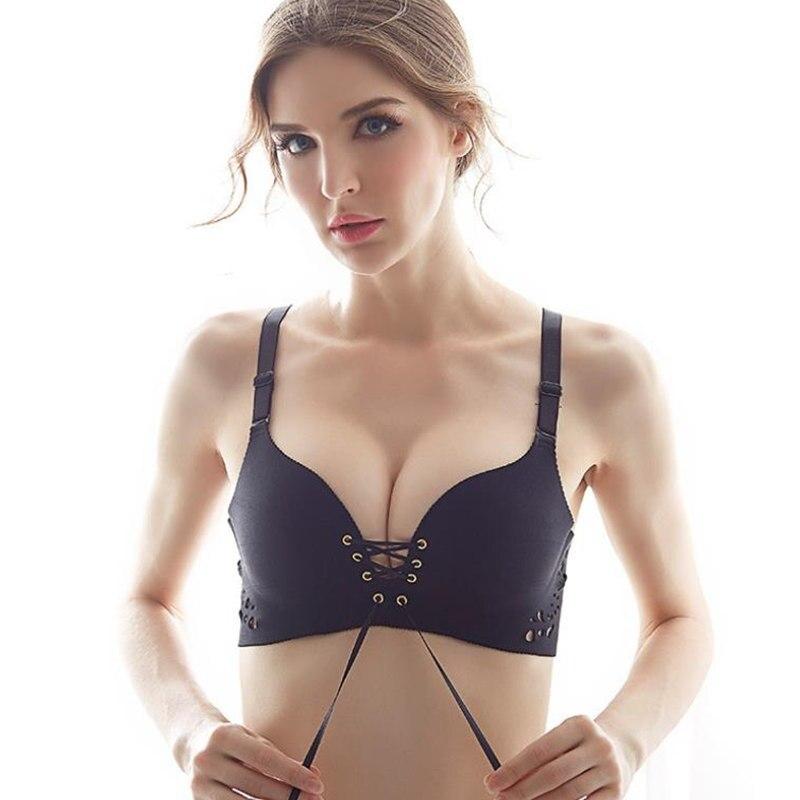 Women Sexy Bras Seamless Push Up Bra Wire Free Lingerie Bandage Bralette 3 4 Cup Cotton Underwear Dropshipping 2018 pink bra in Bras from Underwear Sleepwears