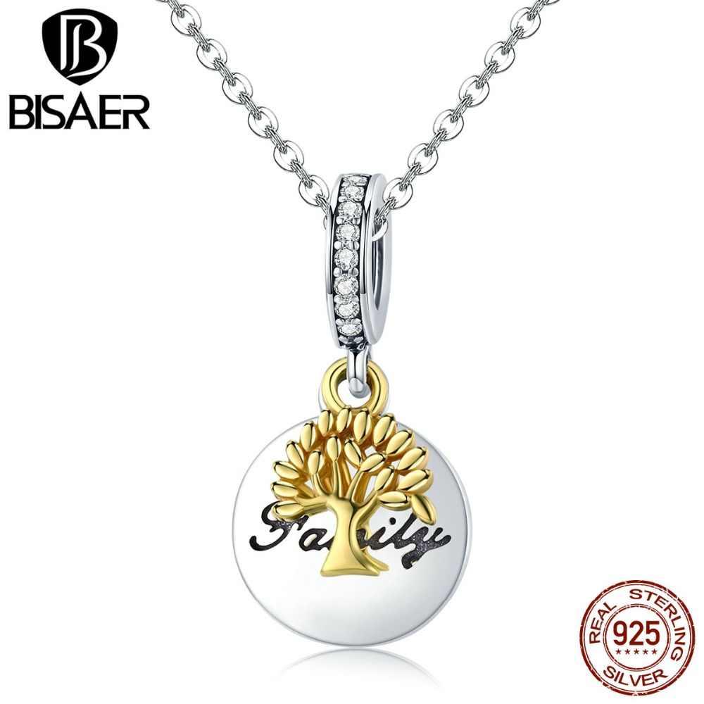 BISAER srebrny wisiorek bujne drzewo ze słowem wzór z rodziną Charms fit oryginalna biżuteria kobiety koraliki na bransoletki i Bangle HSC816