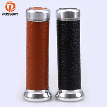 POSSBAY 1Pair 7/8 22mm Motorcycle Handle Bar Grips Aluminum And Leather Universal Fit For Honda Shadow 750