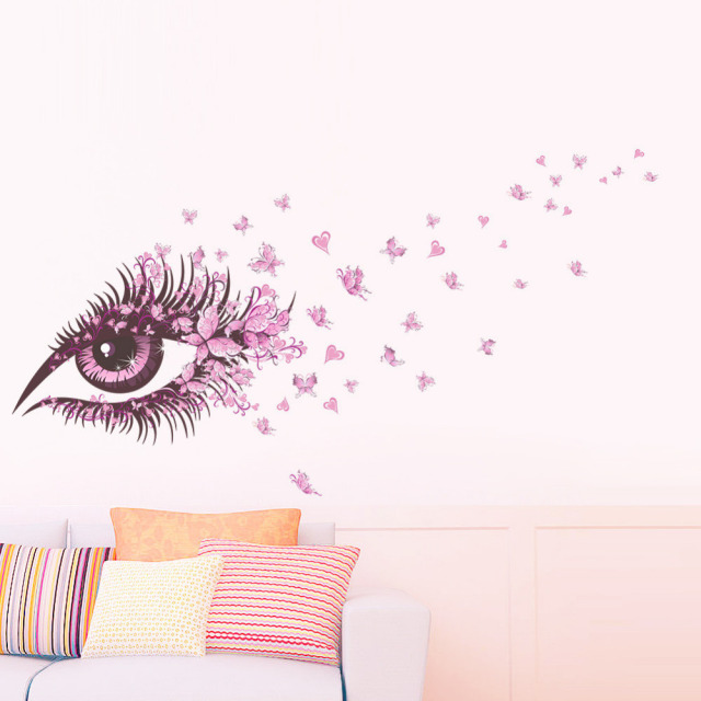 Flower Fairy charm beautiful Women Eye butterfly LOVE heart home decal wall sticker girls bedroom dress room diy sofa wall art