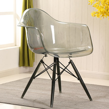 Simple Fashion Creative Leisure Negotiate Dining Plastic Transparent Contemporary Restaurant Wood Moderne Stoel Chair Furniture