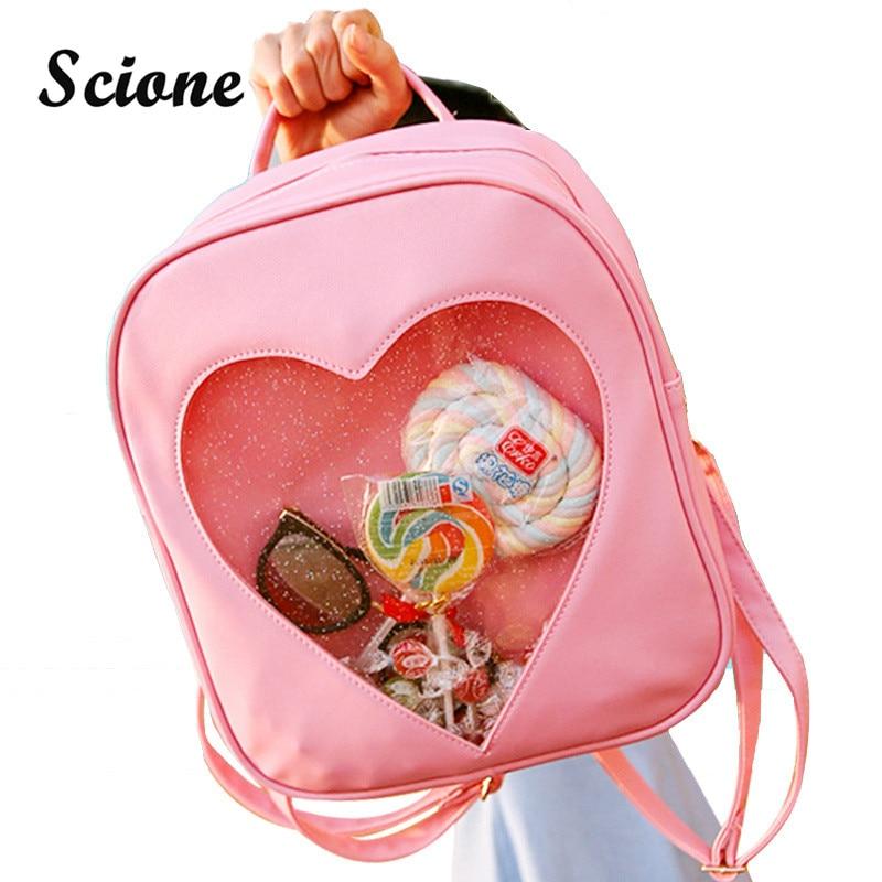 Summer Candy Clear Heart Shaped Backpacks Harajuku School Backpack Women Leather Double Shoulder Bags Teenage Book