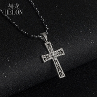 HELON Solid 10K White Gold Engagement & Wedding Jewelry Pave Natural Diamond Pendant Fine Cross Fine Diamonds Pendant