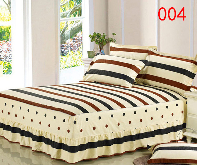 Coffee Yellow 1pcs Cotton Bed Skirt Mattress Protective Cover