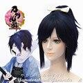ECVTOP Game Cosplay Wig Touken Ranbu Online Yamatonokami Yasusada Costume wig 12 inch Short cool Dark Blue Ponytail Straight Wig