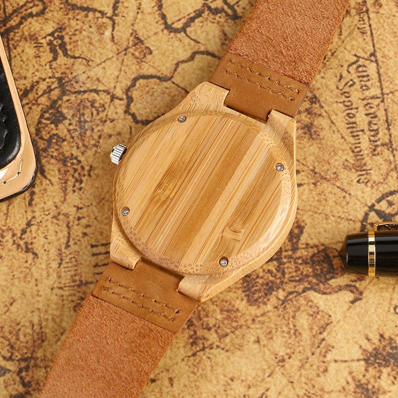 Klassik əl istehsalı yüngül ağac saatları, qadınlar üçün - Kişi saatları - Fotoqrafiya 5