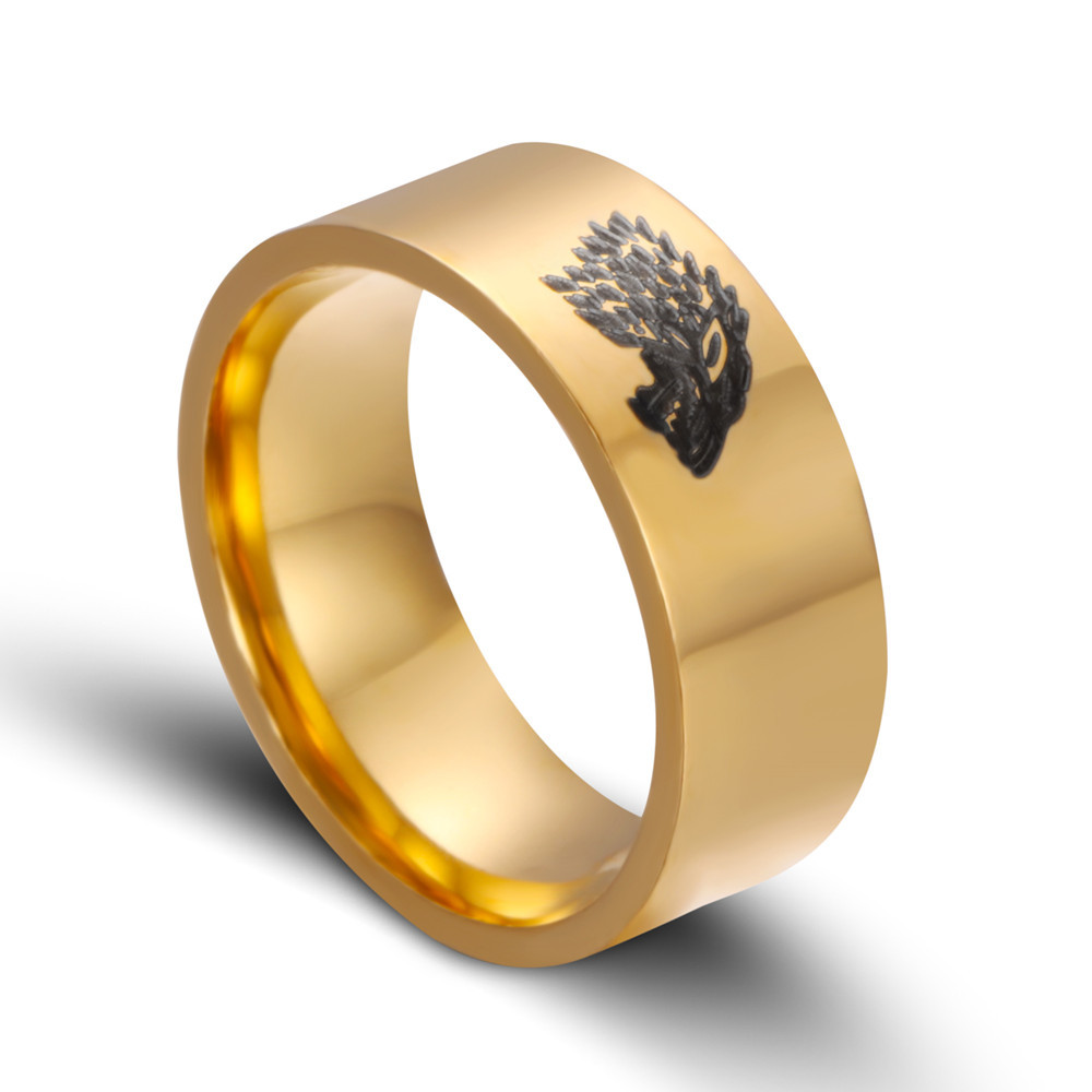 ZMZY 8MM Black Tungsten Carbide Legend of Zelda Wolf Ring Fashion