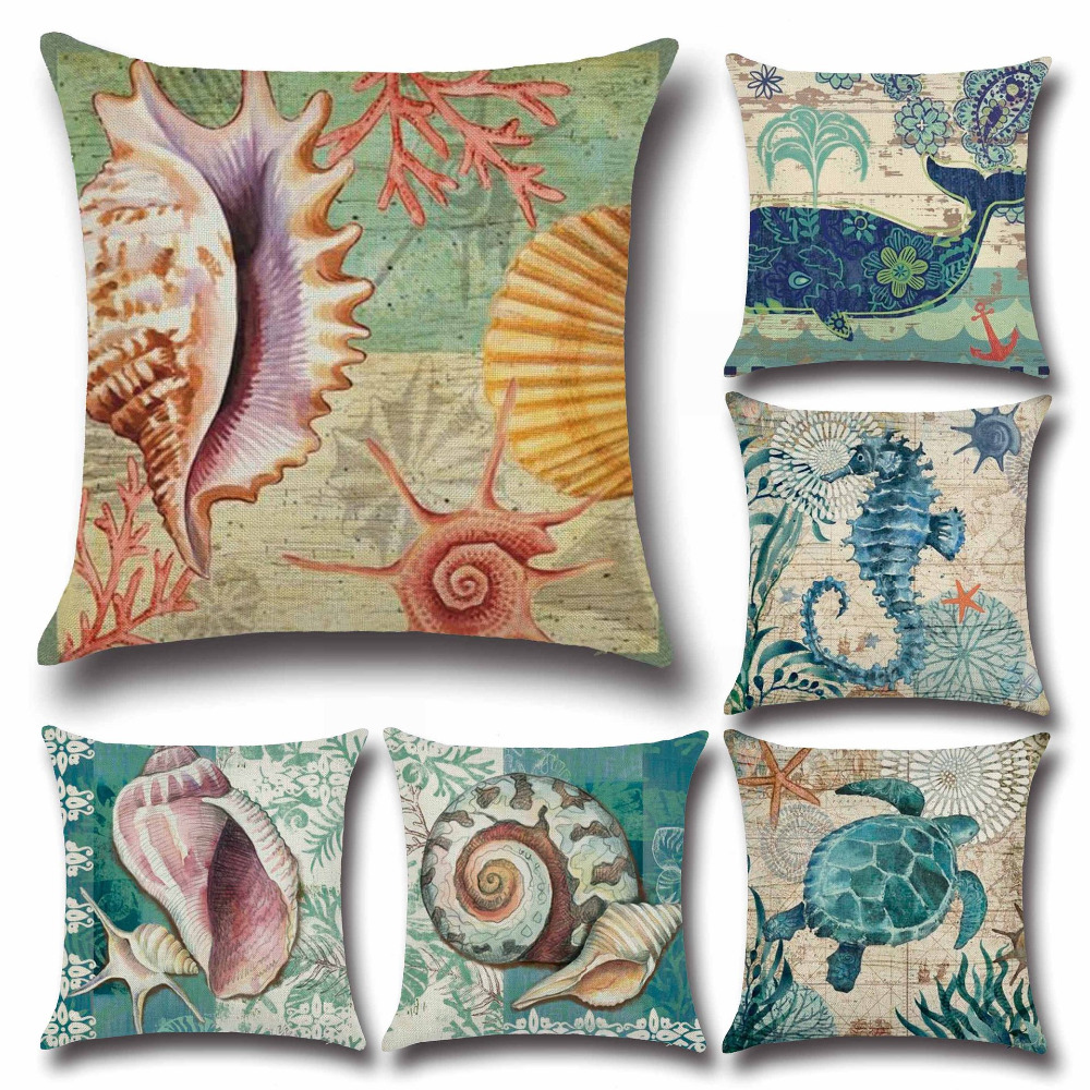 Decorative Pillow Patterns Instructions : Sea Shells Whale Turtle Pattern Cushion Cover Square Woven Linen Cotton Pillow Cover Sofa Car ...
