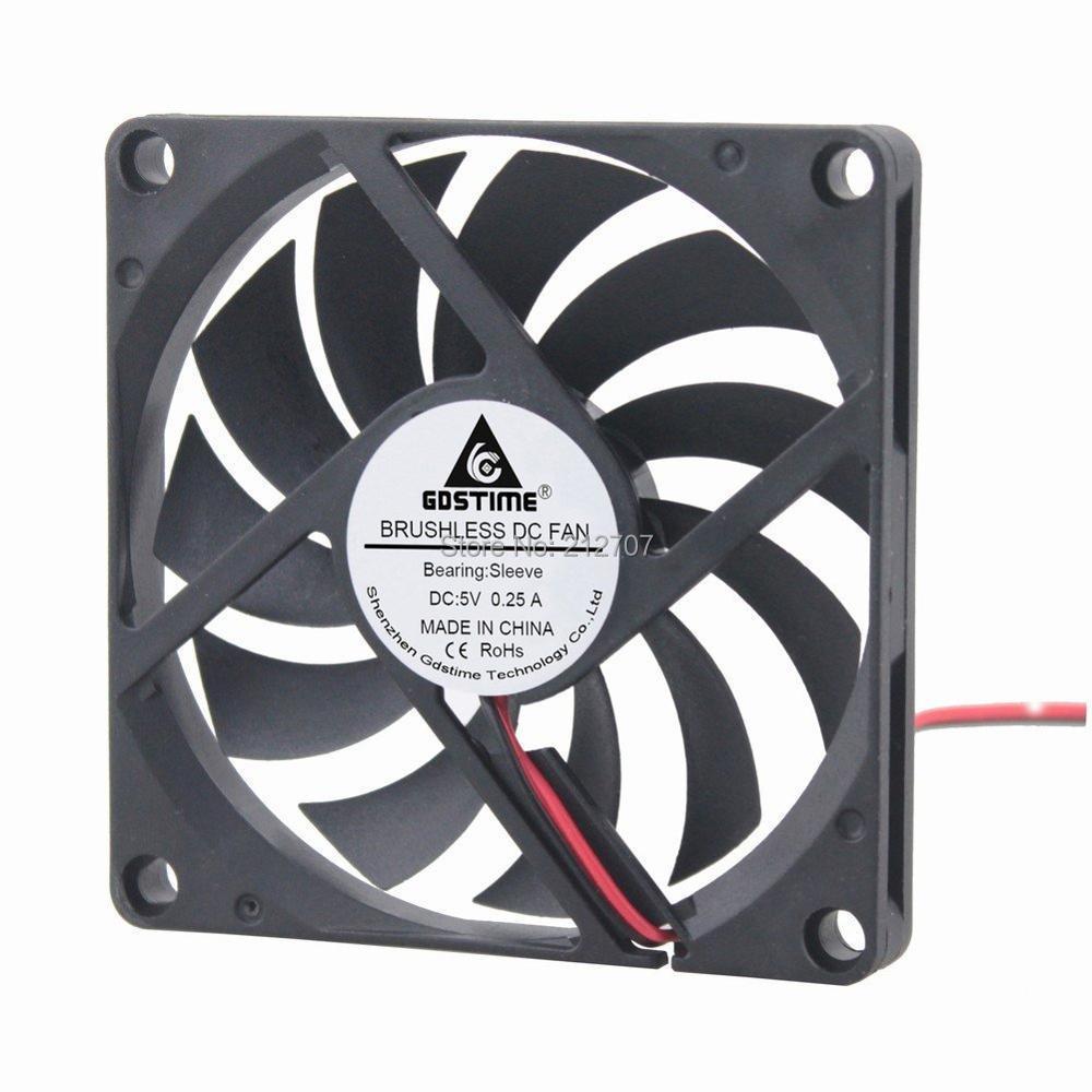 freeshipping 100pcs GDT 5v  2pin mini fan motor 80mm 80x80x10mm  computer cooling
