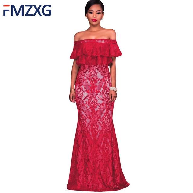Women Elegant Lace One-Shoulder Dress Red Black Lace Mermaid Long Nite  Dresses 2018 Prom Party Dress Robe Soiree Robe dentelle 04a4e9a821