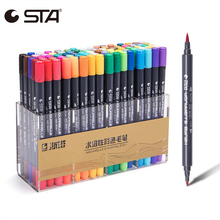 ФОТО sta 12/24/36/48/80color art markers double head watercolor brush pen for drawing stationery dual tip pen sketch manga markers