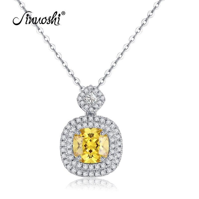 AINUOSHI 2.5 Carats Chshion coupe Halo pendentif collier jaune simulé diamant fiançailles mariage en argent Sterling femmes bijoux-in Pendentifs from Bijoux et Accessoires    1
