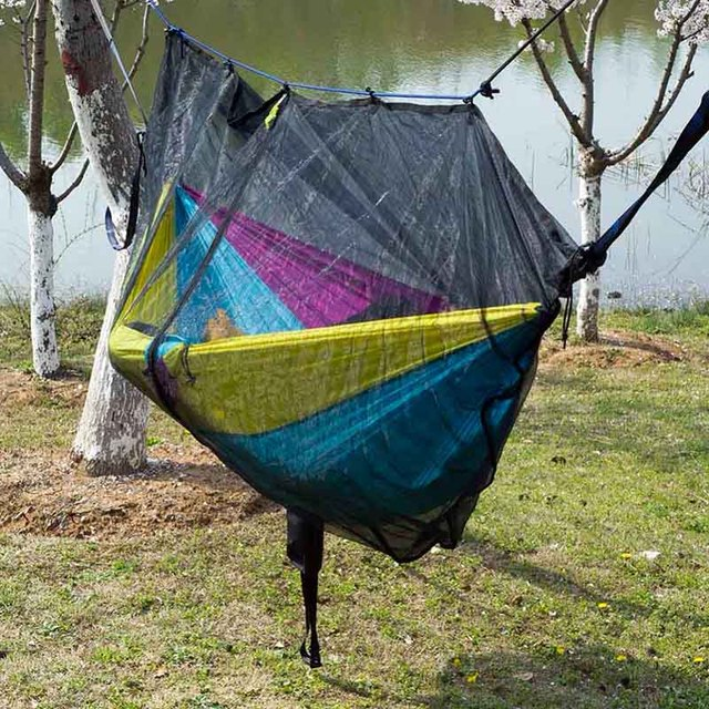 Acehmks Two Person Portable Parachute Hammock Bed Rope 6M Outdoor Furniture Swing For Adults Hammock Bug Mosquito Net Hikes