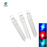 10pcs 5mm RGB LED Common Cathode Tri-Color Emitting Diodes f5 RGB Diffused