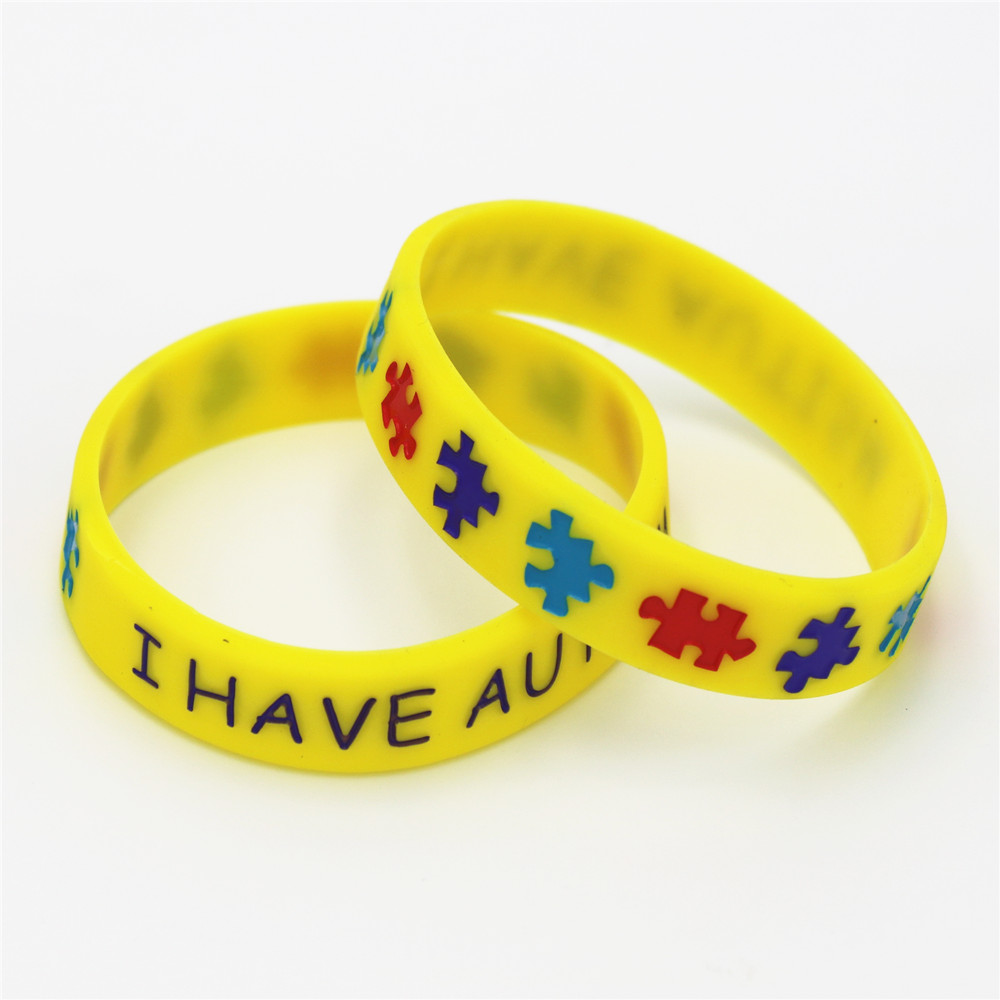 1pc I Have Autism Puzzle Silicone Bracelets Bangles Daily Reminder Colourful Wristbands In Kids Size Multicolor Gifts Sh086 Hologram From