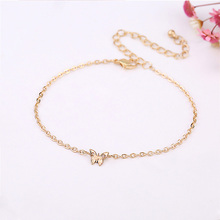 Fashion Women 1PC Cute Hot Sale Butterfly Golden Silvery Alloy Chain Anklets Beach Accessories Jewelry Gift