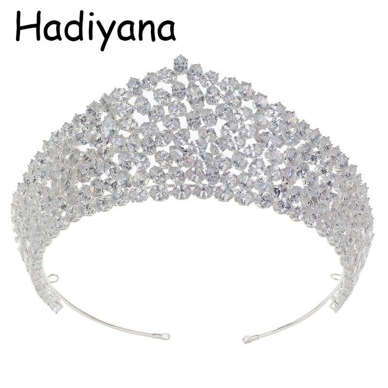 Hadiyana luksusowe korona dla nowożeńców Hot kobiety nakrycia głowy ślub zaręczyny biżuteria akcesoria do włosów korona Birthday Party HG6072 w Biżuteria do włosów od Biżuteria i akcesoria na  Grupa 1