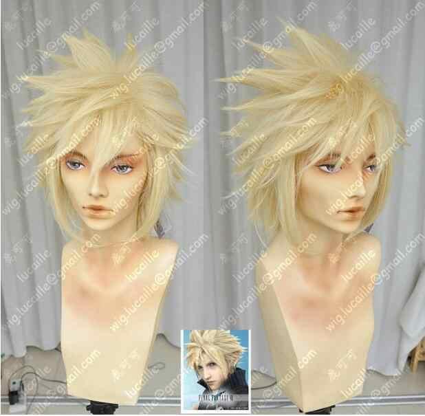 Парик Final Fantasy 7 Облако бледно-золотой косплей парик Бесплатная доставка