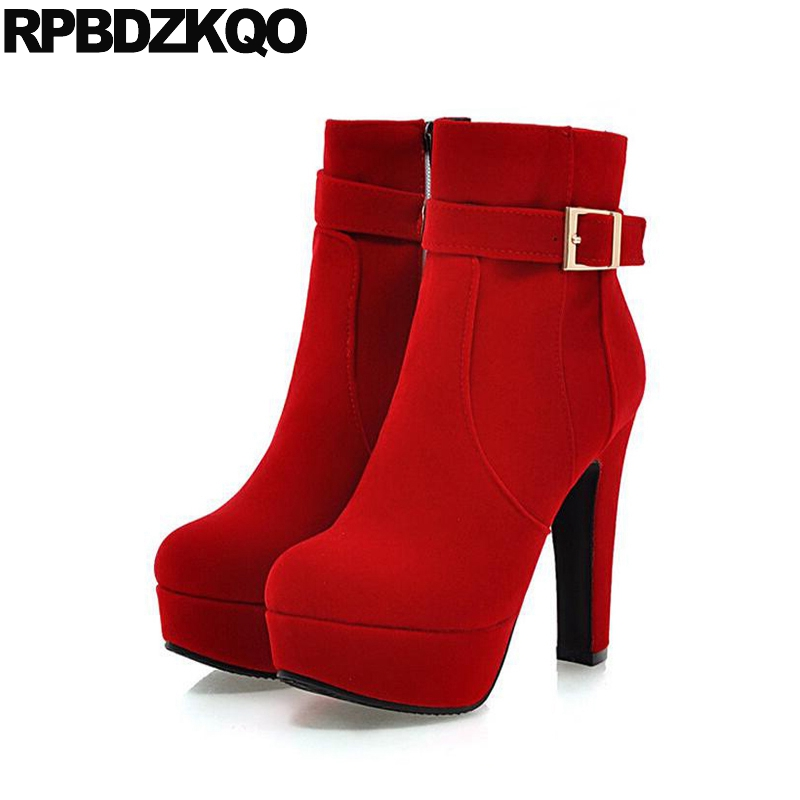 Custom Metal Platform Round Toe Sexy Women Ankle Boots 2016 Booties Shoes Red Chunky High Heel Suede Autumn Ladies Fashion custom metal platform round toe sexy women ankle boots 2016 booties shoes red chunky high heel suede autumn ladies fashion