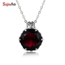 Szjinao Garnet Pendant Gemstone Wedding Accessories Handmade 925 Sterling Silver Rotate Dancing Fashion Women Jewelry 2020