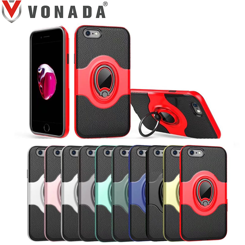 Vonada Anti fall Case for Apple iPhone 8 Finger Ring 360 Degree Rotation Holder TPU PC Hybrid Shockproof Phone Case Cover