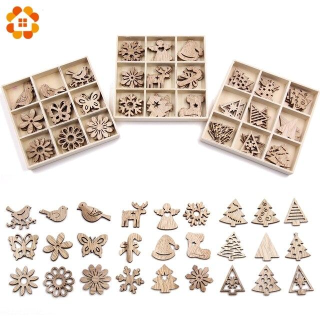 Creativo Mini Trucioli di Legno FAI DA TE Di Natale Ornamenti In Legno FAI DA TE