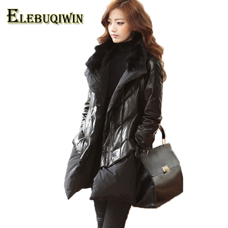 Winter Women Windproof Feather Padded Cotton Jacket PU Leather Fur Collar Plus size Outerwear Female Down Cotton Coat Parkas 6XL стоимость