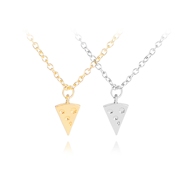new Geometric Triangle Pizza Cake Necklace lucky Good Friends Ape Necklace Cheese Necklace Clavicle Chain Pendant Jewelry