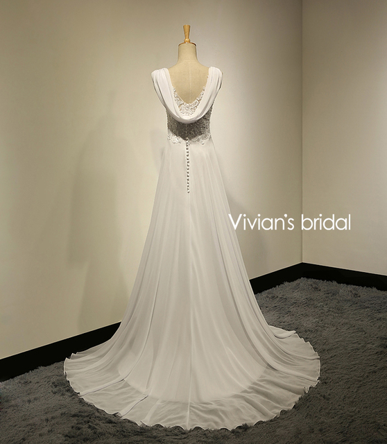 Vivians Bridal Summer Sexy Lace Applique Chiffon Women Beach Wedding Dress Boho Cheap Robe Brush Train Zipper Bridal Dress