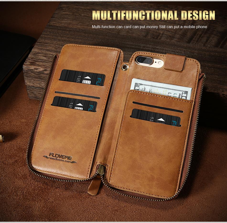 Floveme vintage wallet case dla iphone 6 6 s 7 plus skórzanej oprawie zipper torebka posiadacza karty retro przypadki telefonów dla iphone 6 6 s 7 4