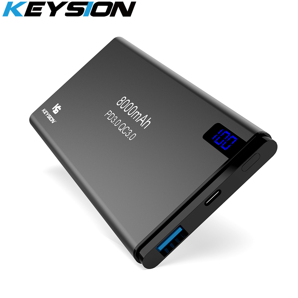 KEYSION 8000mAh Power Bank For iPhone Samsung Huawei Type C PD Fast Charging + Quick Charge 3.0 USB Powerbank External BatteryKEYSION 8000mAh Power Bank For iPhone Samsung Huawei Type C PD Fast Charging + Quick Charge 3.0 USB Powerbank External Battery