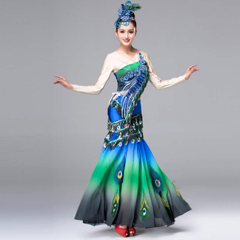Dai Dance Costume Examination Performance Dress Peacock Costume Chinese Folk Dance Costumes For Women