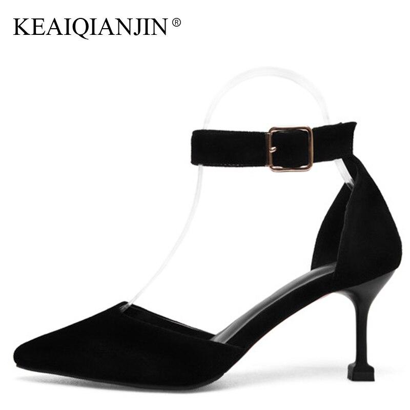 KEAIQIANJIN женщина розовый на каблуках сандалии сексуальная мода Натуральная кожа Свадебные туфли черный Абрикос большой Размер 33 - 42 полые сандалии