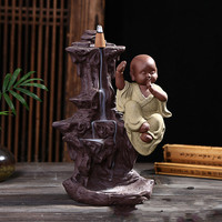 ceramic home furnishing articles aloes, tower incense sandalwood aroma stove there are the young monk monk back present